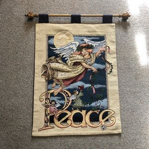 Peace angel ornate tapestry with gold rod EUC